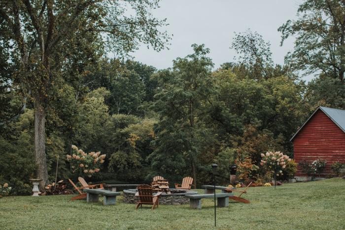 Backyard wedding venue with a fire pit