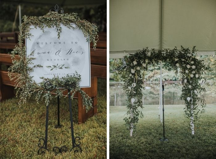 Greenery and white wedding florals and decor
