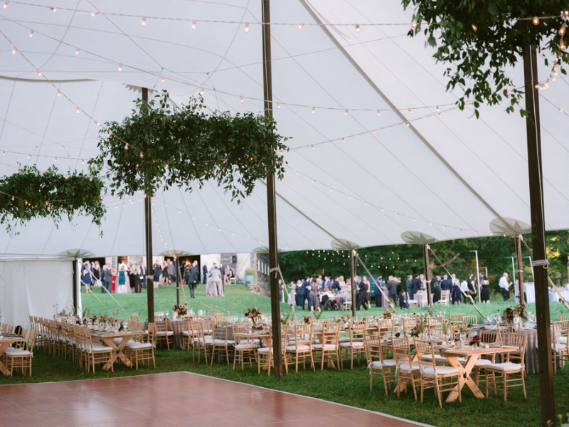 An outdoor tented wedding design in Upstate New York