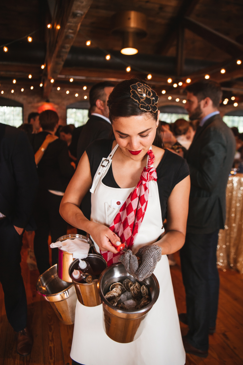Oyster Shucking at a Wedding in Hudson Valley