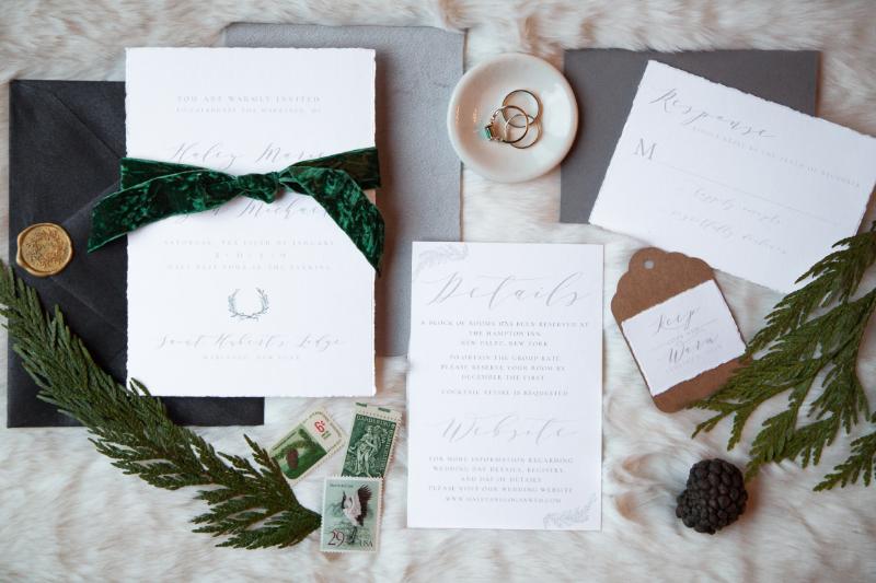 Emerald destination wedding invitation suite in Upstate New York