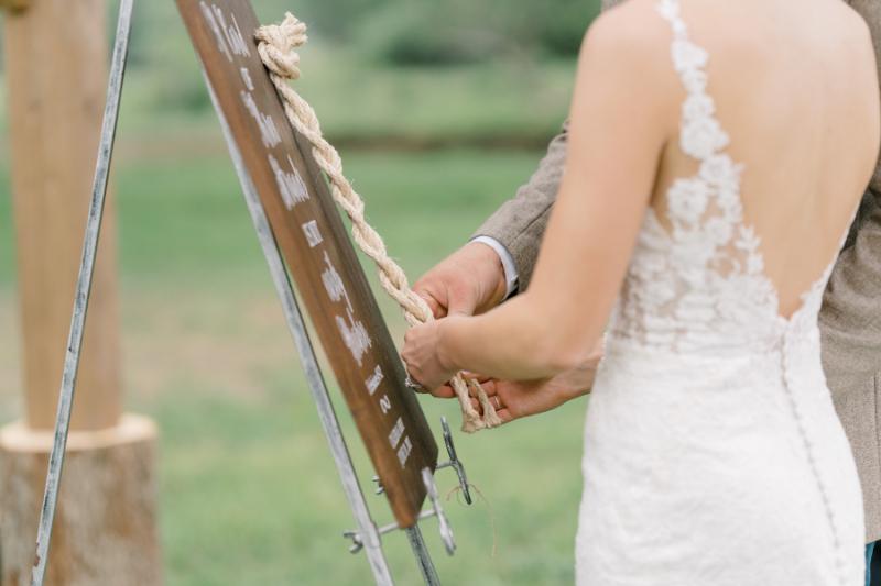 outdoor wedding ceremony with three braid strands