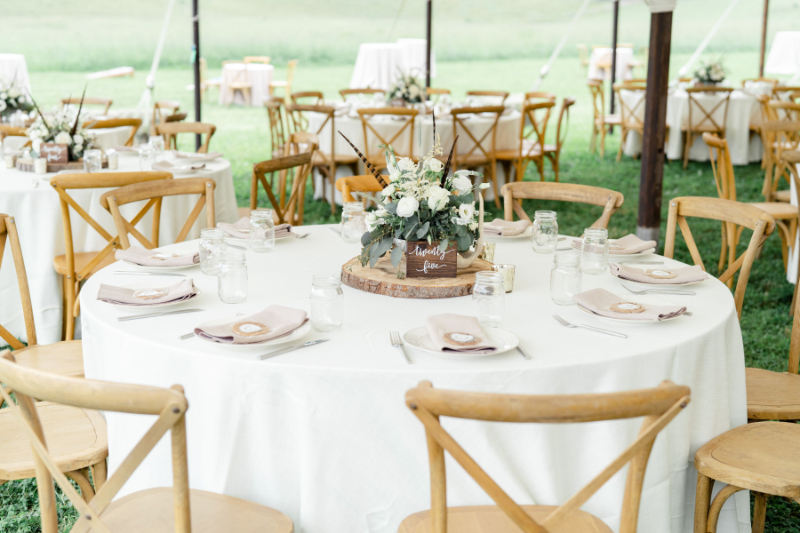 neutral wedding table decor for country wedding