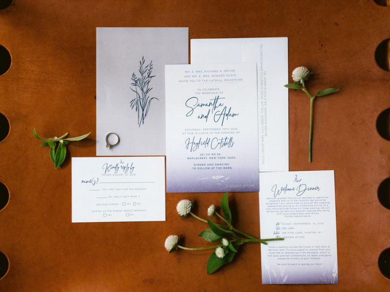 Classic wedding invitations in Upstate New York