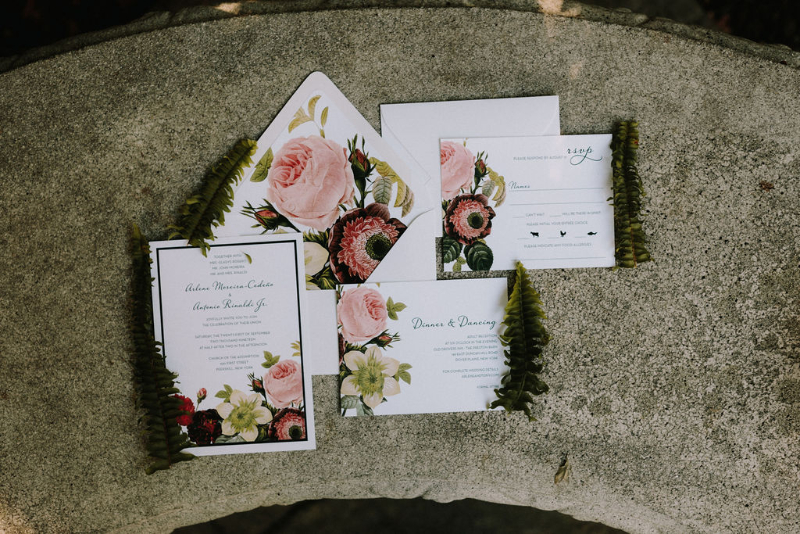 Floral wedding invitations in Upstate New York
