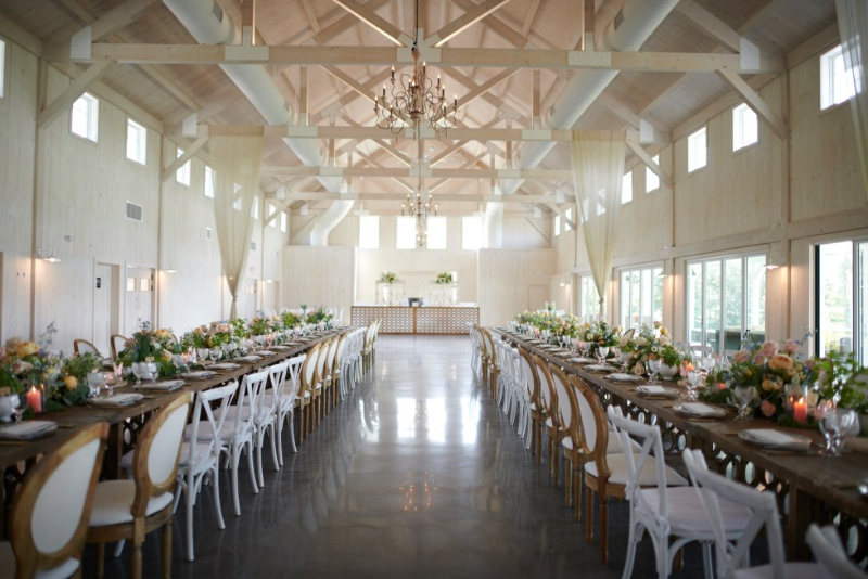 Indoor barn wedding reception for large guest lists