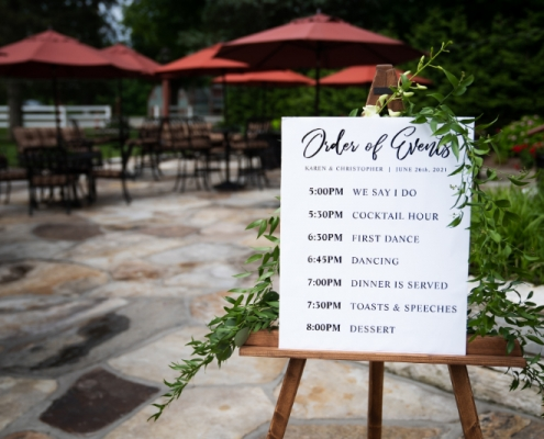 wedding signage with timeline for guests